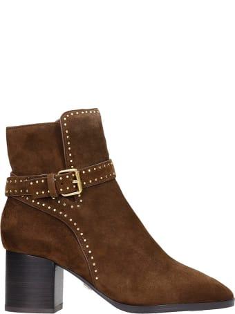 Lola Cruz High Heels Ankle Boots In Brown Suede