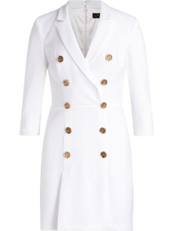 Elisabetta Franchi Celyn B. Elisabetta Franchi Double-breasted Dress In Ivory Color