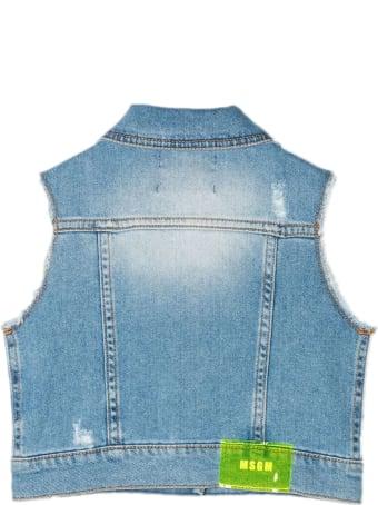 MSGM Blue Stretch Cotton Denim Gilet