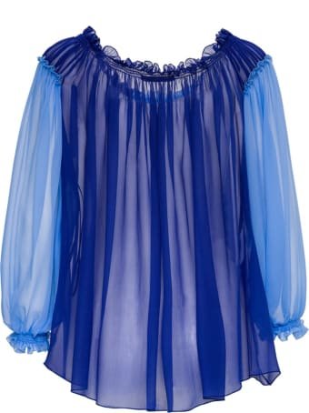 Alberta Ferretti Pleated Silk Chiffon Shirt