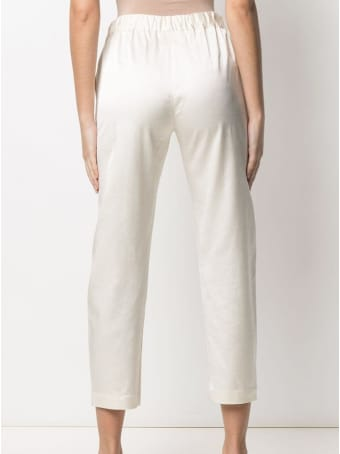 SEMICOUTURE White Buddy Crop Trousers In Vicosa Blend