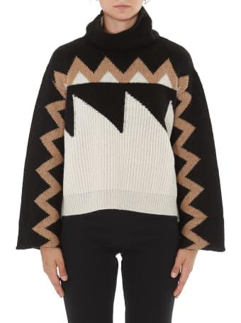 (nude) Gemometric Jacquard Sweater