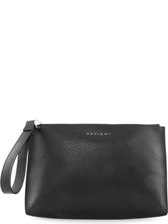 Orciani Clutch Bag In Black Leather