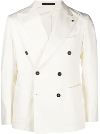 Tagliatore Double-breasted Jacket In White Wool