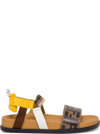 Fendi Ff Leather And Fabric Sandals