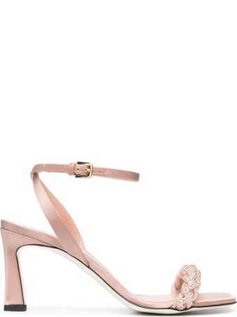 Pollini Pink Satin Sandals With Braided Band