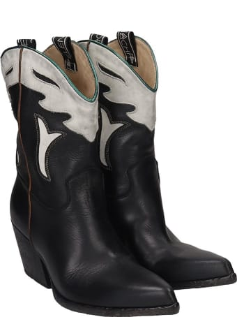 Elena Iachi Texan Ankle Boots In Black Leather