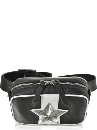 Les Jeunes Etoiles Black And White Leather Vega Belt Bag W/chain Strap