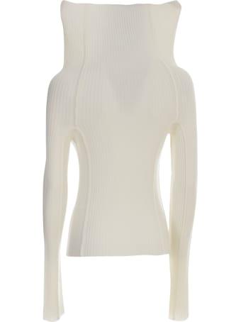 PierAntonioGaspari Ribbed Turtle Neck Sweater W/faux Leather Insert