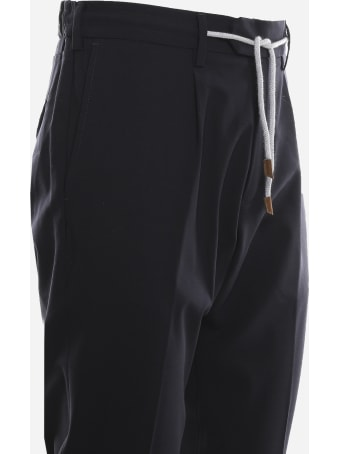 Eleventy Stretch Wool Trousers With Drawstring