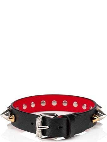 Christian Louboutin M Loublink 15 Calf/paris/spikes Rock Mix Black Leather Bracelet