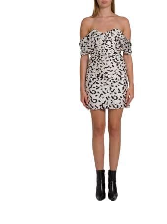 self-portrait Leopard Printed Mini Dress With Dropped Shoulderstraps