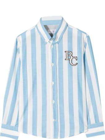 Brunello Cucinelli White Shirt With Light Blue Stripes