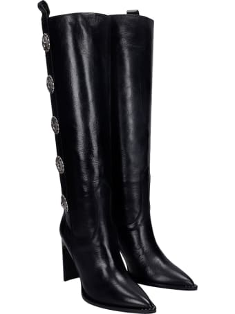 Kate Cate High Heels Boots In Black Leather