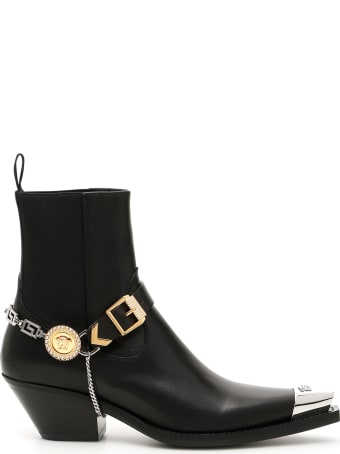 Versace Medusa Chain Western Boots