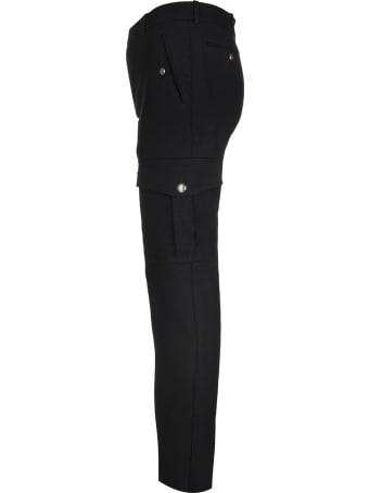 Alexander McQueen Man Cargo Pant In Black Japanese Wool Serge