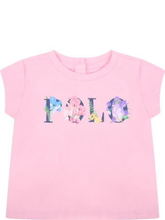 Ralph Lauren Pink T-shirt For Babygirl With Flowers