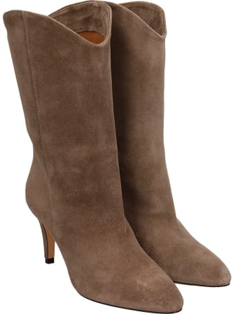 The Seller High Heels Ankle Boots In Taupe Suede