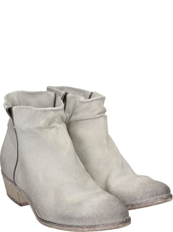 Elena Iachi Low Heels Ankle Boots In White Suede