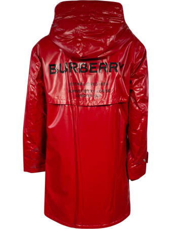 Burberry Back Logo Buttoned Hooded Coat