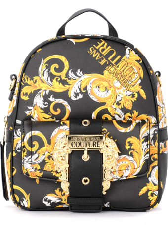 Versace Jeans Couture Black Backpack With Baroque Print