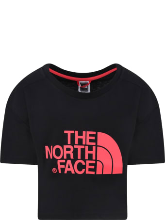 The North Face Black Girl T-shirt With Coral Logo