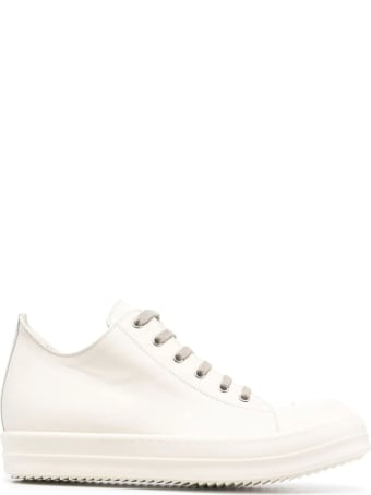 Rick Owens White Leather Low Top Sneakers