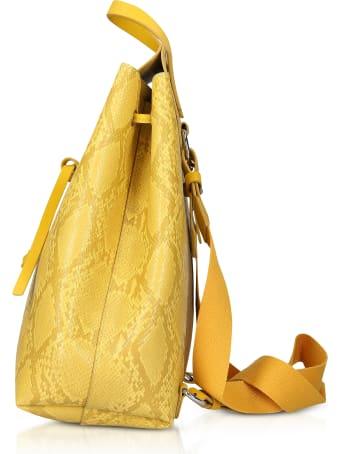 Manila Grace Sun Yellow Python Embossed Backpack