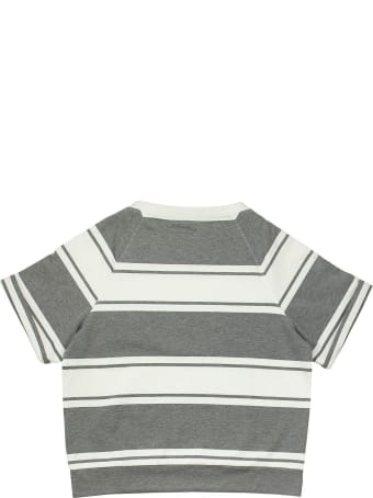 Brunello Cucinelli Cotton Striped French Terry Sweatshirt With Monili