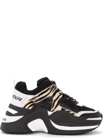 Naked Wolfe Track Sneaker In Black Leather With Zebrine Printed Pony Details