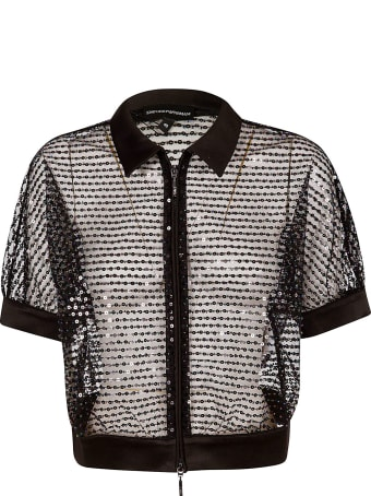 Emporio Armani See-through Sequined Zipped Jacket
