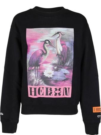 HERON PRESTON Black Cotton Sweatshirt