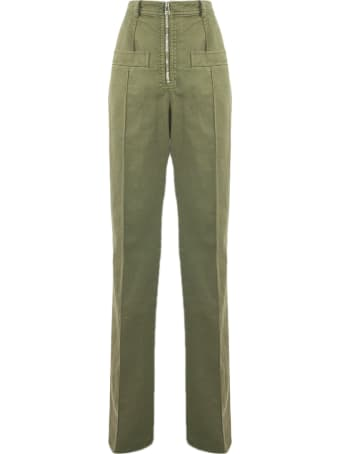 N.21 Military Green Cotton-blend Trousers