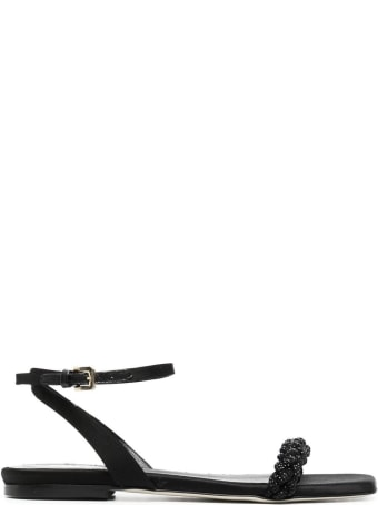 Pollini Black Leather And Satin Sandals With Braided Strap