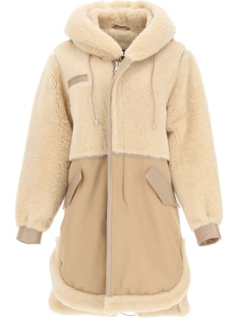 Mr & Mrs Italy Cotton Parka With Leather And Shearling Inserts