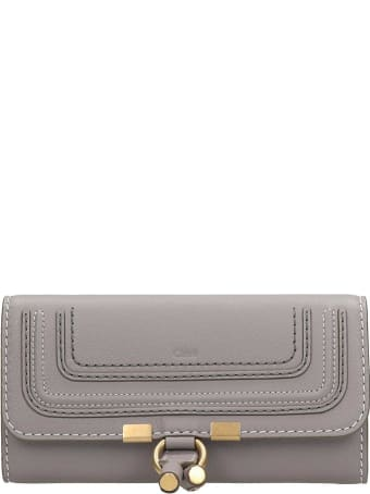 Chloé Long Marcie  Wallet In Grey Leather