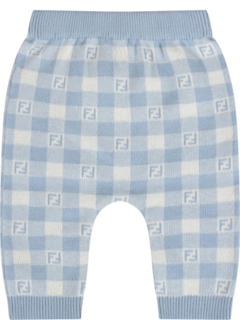 Fendi Light Blue And Ivory Pant With Double Ff For Baby Boy