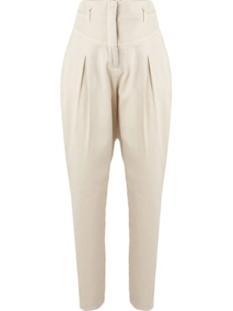 Alberta Ferretti Trousers In Ivory Stretch Bull Denim