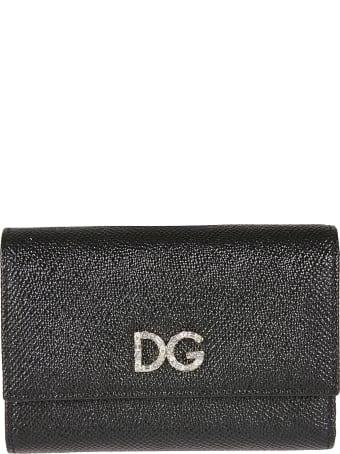 Dolce & Gabbana Crystal Embellished Logo Snap Button Wallet