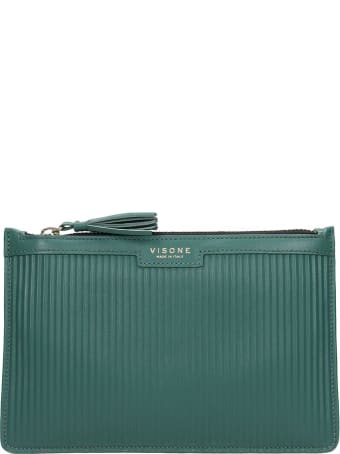Visone Kim Striato Clutch In Green Leather