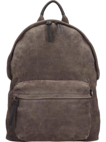 Officine Creative Oliver Backpack In Grey Suede