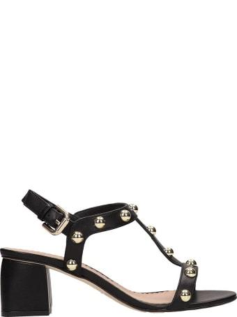 Julie Dee Black Calf Leather Sandals
