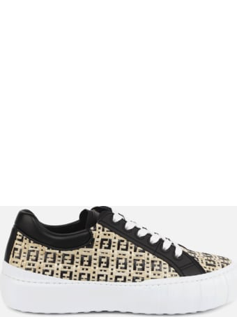 Fendi Low Top Sneakers In Raffia And Leather Inserts