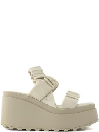 Vic Matié Sandals In Beige Nappa Calfskin