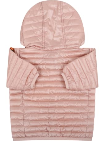 Save the Duck Pink Jacket For Babygirl With Iconic Patch