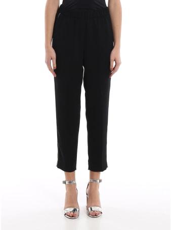 Peserico Point Light Embellished Black Pants