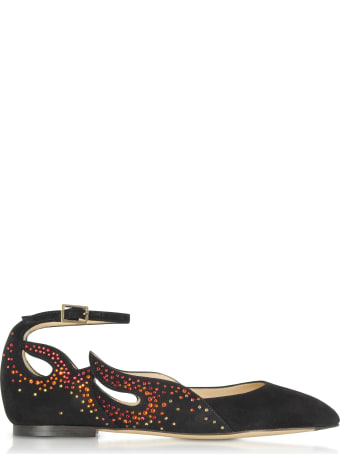 Charlotte Olympia Feelin' Hot Hot Hot! Black Suede Ballerinas