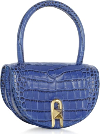 Salar Winnie Croco Embossed Leather Light Blue Top Handle Bag