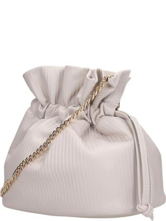 Visone Ellen Striato Shoulder Bag In Beige Leather