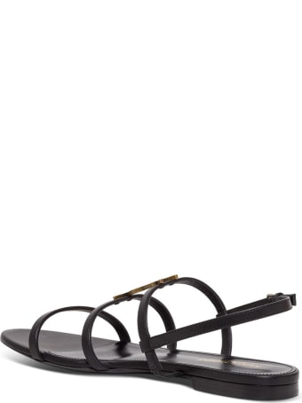 Saint Laurent Clessandra Sandals In Leather With Logo